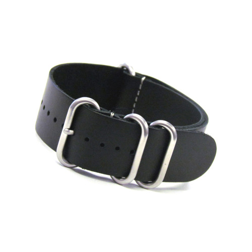 Smooth Black 4-Ring Classic Leather Watch Strap | Panatime.com