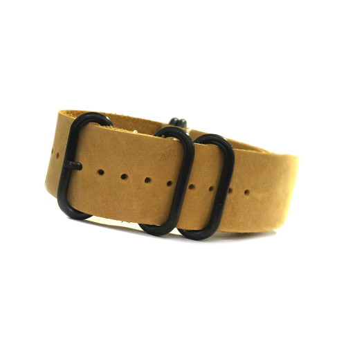 Honey 5-Ring PVD Natural Vintage Leather One-Piece Watch Strap | Panatime.com