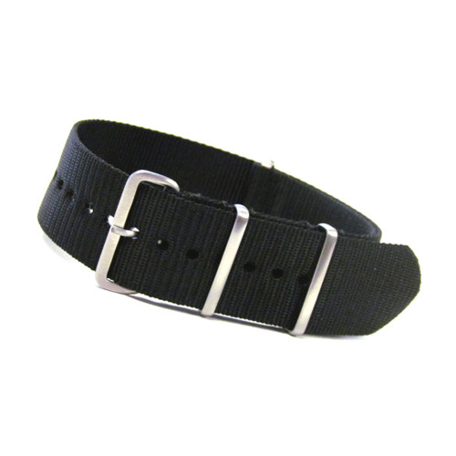 Black 4-Square Ring Ballistic Nylon One-Piece Watch Strap (Solid) | Panatime.com