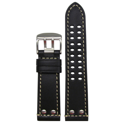 22mm Black Genuine Leather Watch Strap for Luminox (MS915) | Panatime.com