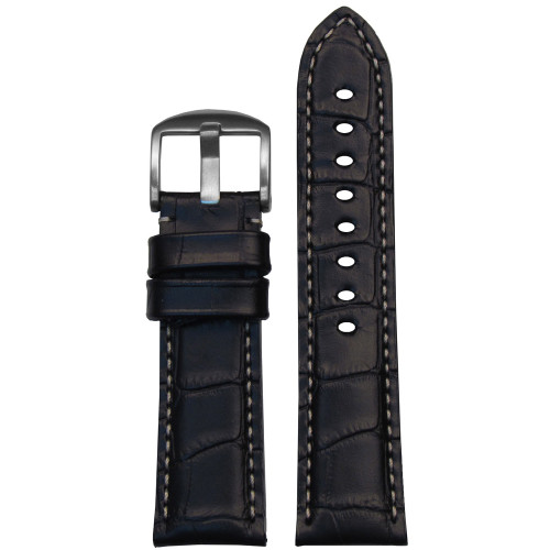 22mm Black Alligator Grain Italian Leather Watch Strap for Panerai (MS2035) | Panatime.com