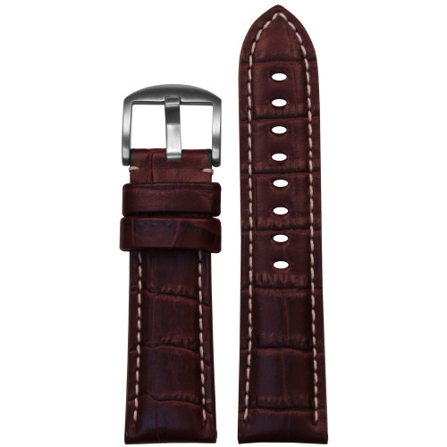 22mm Dark Brown Alligator Grain Italian Leather Watch Strap for Panerai (MS2035) | Panatime.com