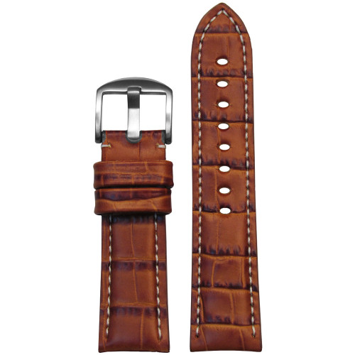 22mm Tan Alligator Grain Italian Leather Watch Strap for Panerai (MS2035) | Panatime.com
