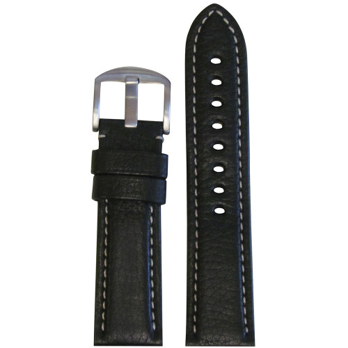 22mm Black Vegetable Tanned Calf Leather - USA Made (MS2036) | Panatime.com