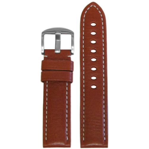22mm Tan Vegetable Tanned Calf Leather - USA Made (MS2036) | Panatime.com