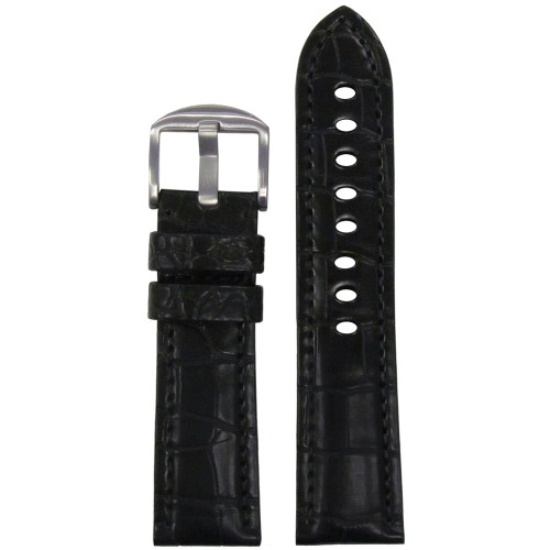 24mm Black Genuine Matte Alligator Watch Strap for Panerai (MS2018) | Panatime.com
