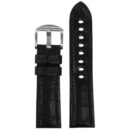 24mm Black Genuine Matte Alligator Watch Strap for Panerai (MS2018) | Panatime.com