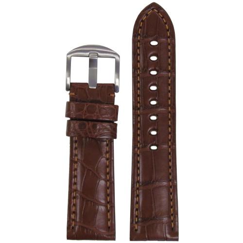 24mm Chestnut Genuine Matte Alligator Watch Strap for Panerai (MS2018) | Panatime.com