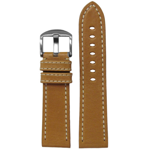 22mm Tan Vegetable Tanned Vintage Leather Watch Strap (MS2040) | Panatime.com