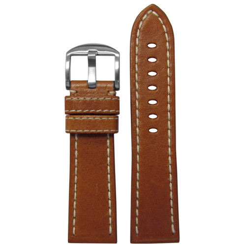 22mm Brown Vegetable Tanned Vintage Leather Watch Strap (MS2040) | Panatime.com