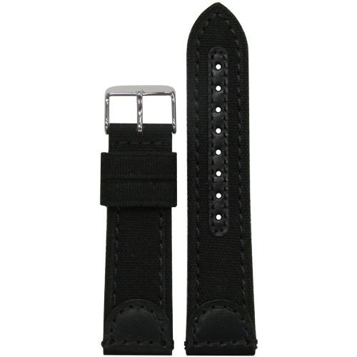 22mm Black Genuine Leather & Canvas Watch Strap (MS868) | Panatime.com