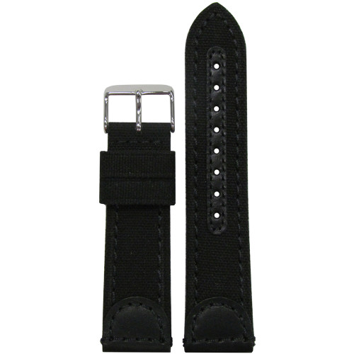 20mm Black Genuine Leather & Canvas Watch Strap (MS868) | Panatime.com
