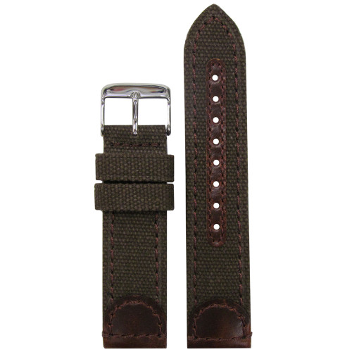 22mm Brown Genuine Leather & Canvas Watch Strap (MS868) | Panatime.com
