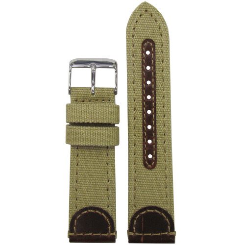 18mm Khaki Genuine Leather & Canvas Watch Strap (MS868) | Panatime.com