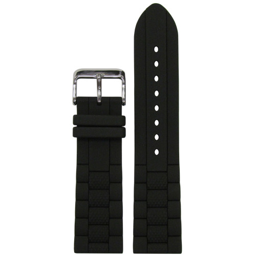 24mm Black Oyster Waterproof Silicone Diver Watch Strap with Black Stripe (MS3344) | Panatime.com