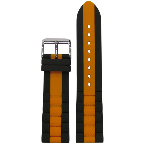 20mm Black Oyster Waterproof Silicone Diver Watch Strap with Orange Stripe (MS3344) | Panatime.com