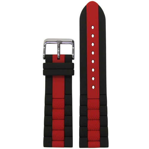 20mm Black Oyster Waterproof Silicone Diver Watch Strap with Red Stripe (MS3344) | Panatime.com