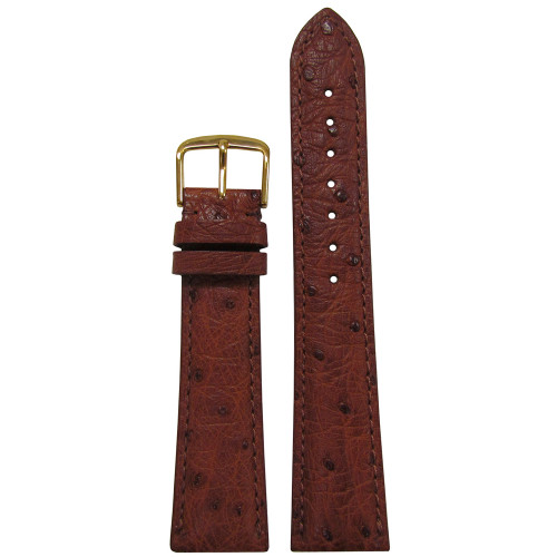 18mm Cognac Genuine Ostrich Watch Strap (MS2003) | Panatime.com