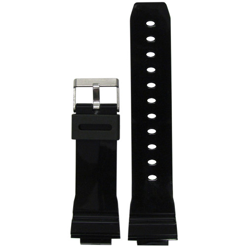 16mm Black Waterproof Glossy Polyurethane Diver Watch Strap for Casio G-Shock (MS3216) | Panatime.com