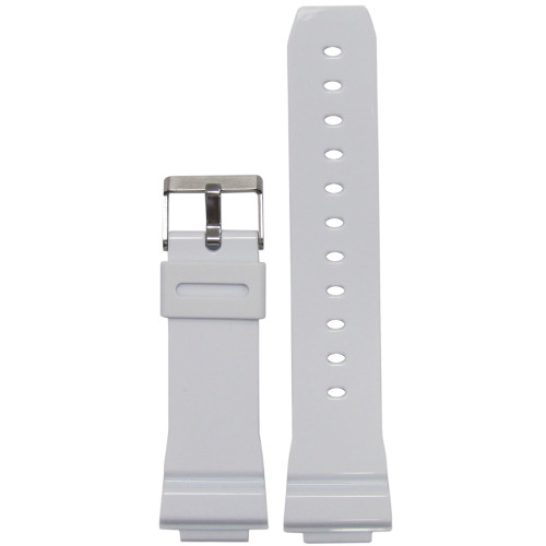 16mm White Waterproof Glossy Polyurethane Diver Watch Strap for Casio G-Shock (MS3216) | Panatime.com
