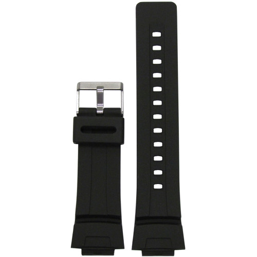16mm Black Waterproof Polyurethane Smooth Diver Watch Strap for Casio G-Shock (MS3212) | Panatime.com