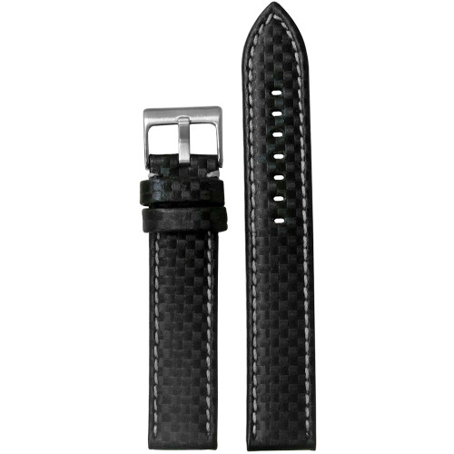 18mm Black Carbon Fiber Style Watch Strap with White Stitching (MS847) | Panatime.com