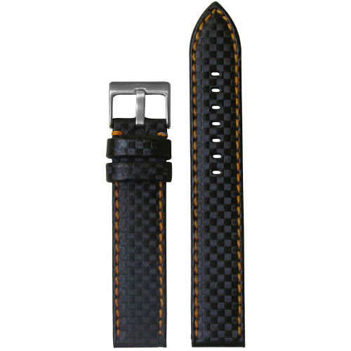 18mm Black Carbon Fiber Style Watch Strap with Orange Stitching (MS847) | Panatime.com