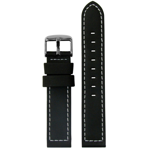 18mm Black Silicone Over Leather Watch Strap with LoricaÌÎ_Ì´ÌàÌ´Ì_ÌÎÌ¢ Lining (MS740) | Panatime.com