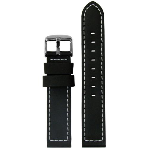 18mm Black Silicone Over Leather Watch Strap with LoricaÌÎÌ_ÌÎ__ÌÎÌ_Ì´åÇÌÎÌ_ÌÎÌ_ÌÎÌ_Ì´åÇÌÎÌ__ÌÎÌ_ÌÎ_ÌÎÌ_Ì´å¢ Lining (MS740) | Panatime.com