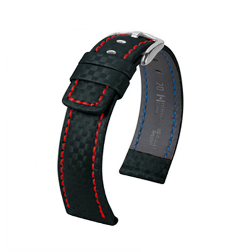18mm Black Hirsch Carbon Watch Strap with Red Stitching - Water Resistant  | Panatime.com