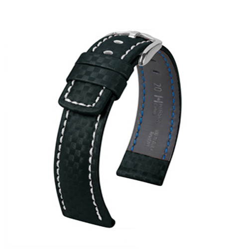 22mm Black Hirsch Carbon Watch Strap with White Stitching - Water Resistant  | Panatime.com
