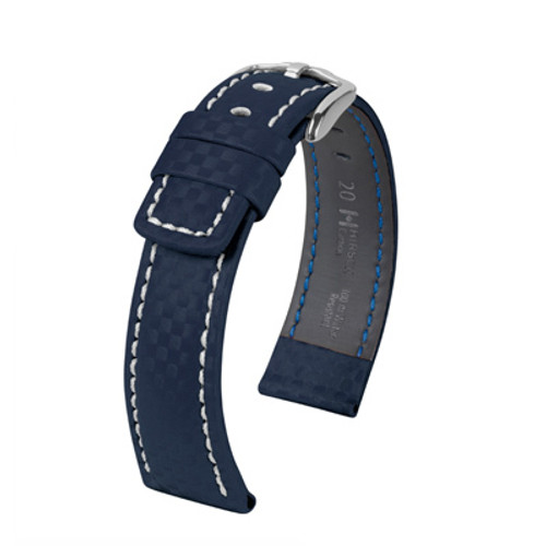 18mm Navy Hirsch Carbon Watch Strap with White Stitching - Water Resistant  | Panatime.com