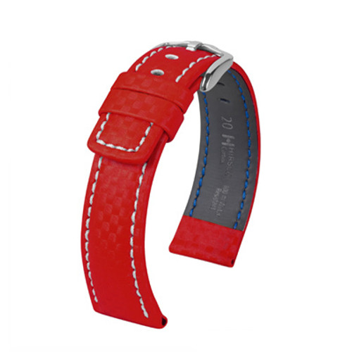 18mm Red Hirsch Carbon Watch Strap with White Stitching - Water Resistant  | Panatime.com