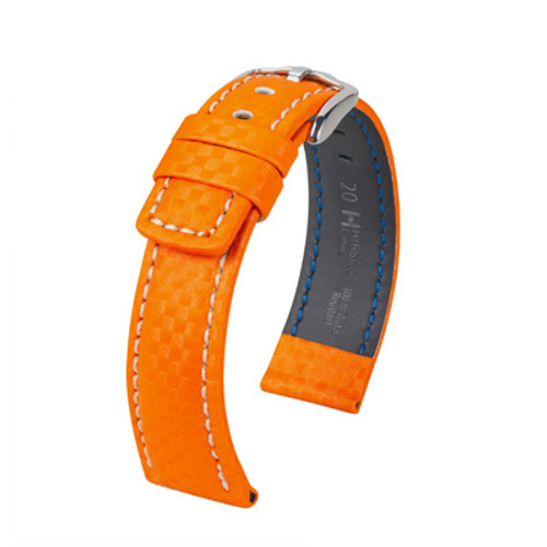 18mm Orange Hirsch Carbon Watch Strap with White Stitching - Water Resistant  | Panatime.com