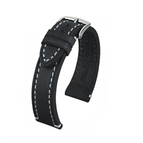 24mm Black Hirsch Liberty - Vegetable Tanned Vintage Leather | Panatime.com