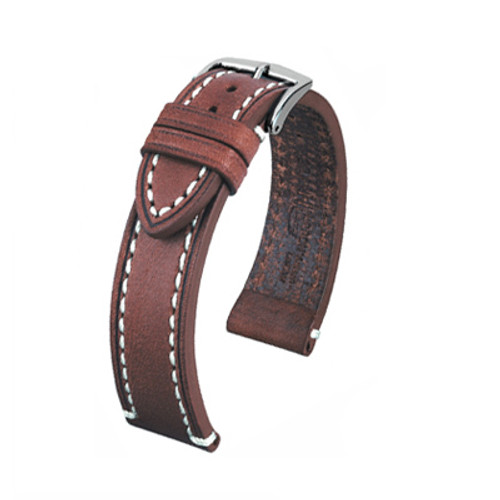 24mm Brown Hirsch Liberty - Vegetable Tanned Vintage Leather | Panatime.com