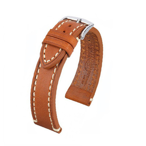24mm Golden Brown Hirsch Liberty - Vegetable Tanned Vintage Leather | Panatime.com