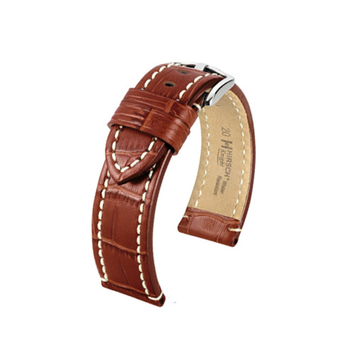 22mm Golden Brown Hirsch Knight - Embossed Italian Calfskin Watch Strap | Panatime.com