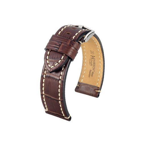 24mm Brown Hirsch Knight - Embossed Italian Calfskin Watch Strap | Panatime.com