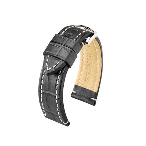 24mm Grey Hirsch Knight - Embossed Italian Calfskin Watch Strap | Panatime.com