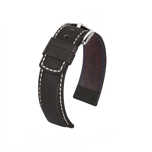 18mm Black Hirsch Mariner Barrel Dyed Saddle Leather Watch Strap | Panatime.com