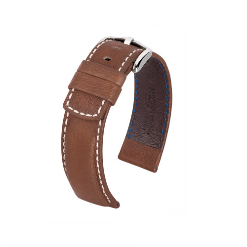 18mm Brown Hirsch Mariner Barrel Dyed Saddle Leather Watch Strap | Panatime.com