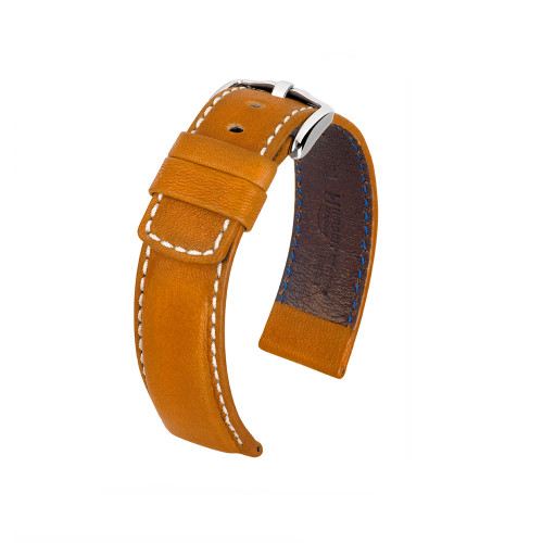18mm Tan Hirsch Mariner Barrel Dyed Saddle Leather Watch Strap | Panatime.com