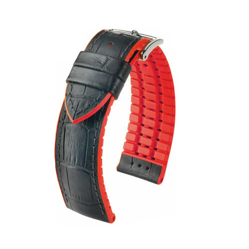 24mm Black Hirsch Andy - Hirsch Performance Series Watch Strap with Red Backing and Siding | Panatime.com
