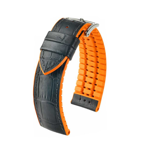 22mm Black Hirsch Andy - Hirsch Performance Series Watch Strap with Orange Backing and Siding | Panatime.com