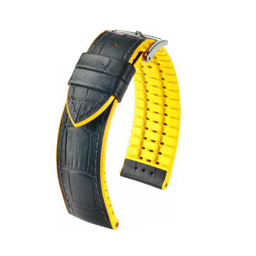 22mm Black Hirsch Andy - Hirsch Performance Series Watch Strap with Yellow Backing and Siding | Panatime.com