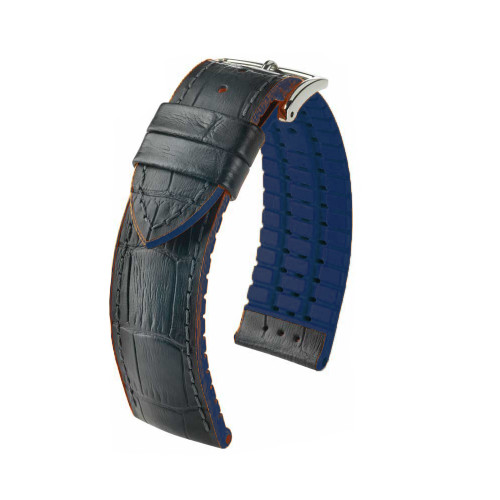 24mm Black Hirsch Andy - Hirsch Performance Series Watch Strap with Blue Backing and Siding | Panatime.com