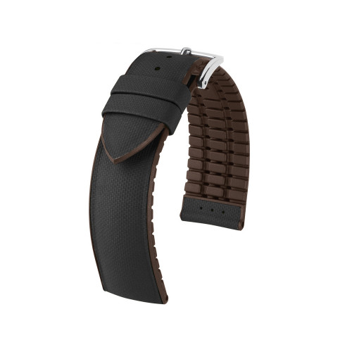 18mm Black Hirsch Arne - Hirsch Performance Series Italian Calfskin Watch Strap with Premium Caoutchouc Lining | Panatime.com