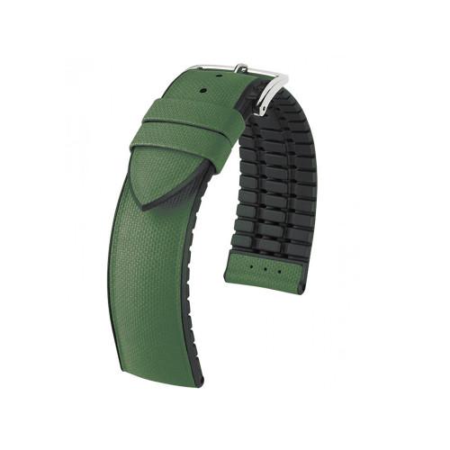 18mm Olive Hirsch Arne - Hirsch Performance Series Italian Calfskin Watch Strap with Premium Caoutchouc Lining | Panatime.com