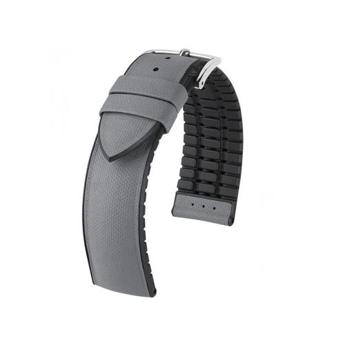 20mm Grey Hirsch Arne - Hirsch Performance Series Italian Calfskin Watch Strap with Premium Caoutchouc Lining   Panatime.com